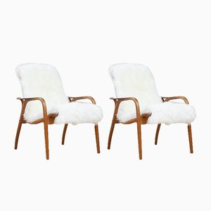 Oak & Sheepskin Lounge Chairs by Yngve Ekström for Swedese, 1951, Set of 2