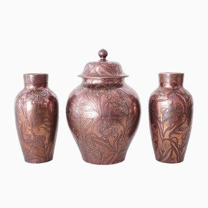 Art Nouveau Garniture of Vases by Diffloth for Boch Keramis, 1907, Set of 3