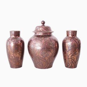 Set di vasi Art Nouveau di Diffloth per Boch Keramis, 1907, set di 3