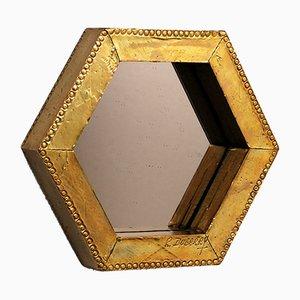 Specchio ottagonale vintage in ottone dorato di Rodolfo Dubarry
