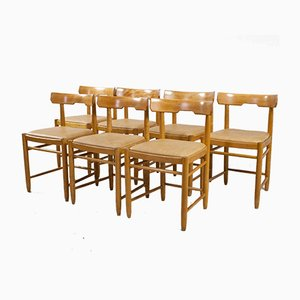 Sedie da pranzo moderne in faggio e pelle, Scandinavia, anni '60, set di 7