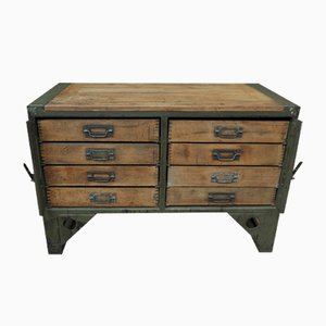 Industrial French Army Beech and Iron Chest, 1940s