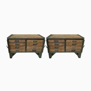 Industrial French Army Beech and Iron Chests, 1940s, Set of 2