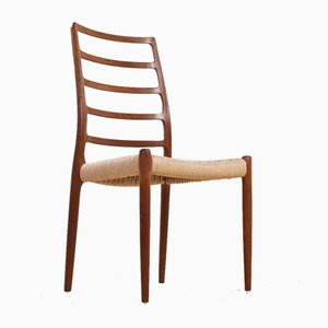 Teak and Paper Cord Dining Chair by Niels Moller for J.L. Møllers, 1954