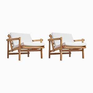 Beech & White Linen Cleon Lounge Chairs by Martin Visser for Arspect, 1970s, Set of 2
