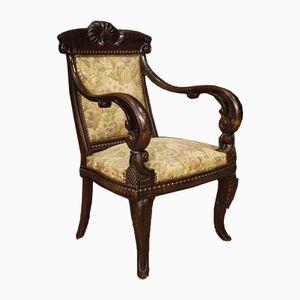 Antique Italian Mahogany Chairs, 1880s, Set of 2