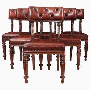 Chaises de Salon William IV en Acajou et Cuir, Set de 6