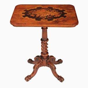Tavolino di servizio antico in legno di noce intarsiato