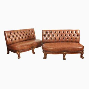 Leather Chesterfield Style Bench Sofas, 1920s, Set of 2
