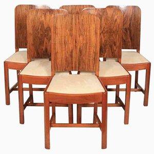Art Deco Esszimmerstühle aus Nussholz, 6er Set
