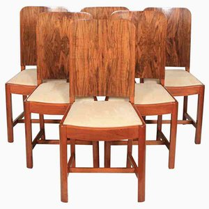 Art Deco Walnut Dining Chairs, 1930s, Set of 6