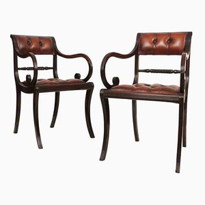 Antique Regency Ebony Armchairs, Set of 2