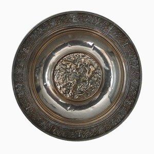 Antiker silberner Obstteller mit Wassernixen-Motiv
