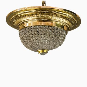 Art Deco Cut Glass & Brass Ceiling Lamp, 1920s