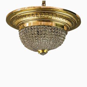 Lampada da soffitto Art Deco in ottone e vetro inciso, anni '20