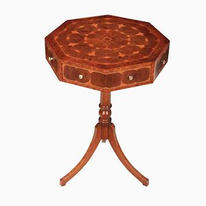Vintage Oyster Veneered Octagonal Drum Table, 1950s