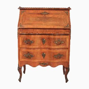 Antique Shaped Inlaid Walnut Continental Bureau
