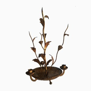 Gold Leaf Wrought Iron Candleholder, 1950s