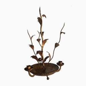 Kerzenhalter aus Schmiedeeisen in Blattgold, 1950er