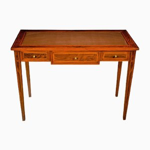 Napoleon III Style Walnut Writing Desk with Bordeaux Leather Top, 1920s