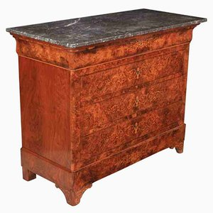 Antique Marquetry Inlaid Burr Walnut Marble Top Chest of Drawers, 1870s