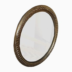 Antique Round Giltwood Mirrors, Set of 2