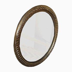 Specchi antichi rotondi in legno dorato, set di 2