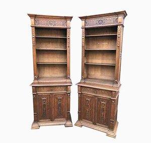 Antike hohe geschnitzte Bücherregale aus Eichenholz, 2er Set