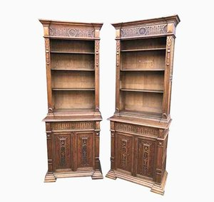 Antique Tall Carved Oak Bookcases, Set of 2