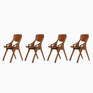 Sedie da pranzo vintage in quercia di Arne Hovmand Olsen per Mogens Kold, set di 4