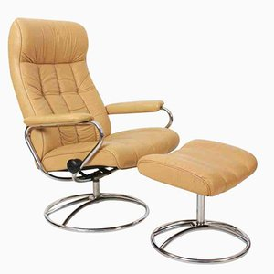 Mid-Century Leather Reclining Lounge Chair & Footstool
