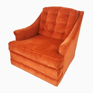 Mid-Century American Orange Velvet Lounge Chair