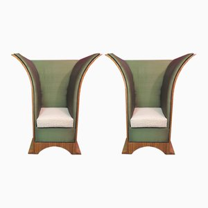 Art Deco French Silk and Damask Velvet Armchairs, 1940s, Set of 2