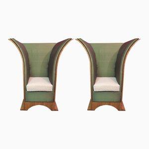 Butacas francesas Art Déco de seda y terciopelo damasco, años 40. Juego de 2