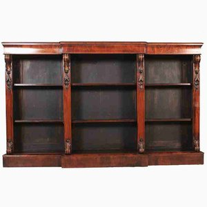 Large Antique Walnut Triple Open Bookcase