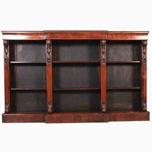Librería abierta antigua grande de nogal con tres puertas