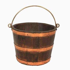 Cubo para el carbón vintage de cobre y roble