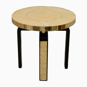 Round Art Nouveau Goatskin and Brass Side Table, 1910s