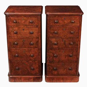 Tables de Chevet Antiques en Loupe de Noyer, Set de 2