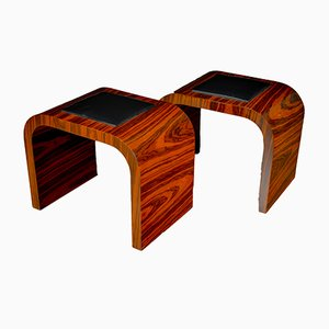 Art Deco Rosewood and Black Faux Leather Stools, 1930s, Set of 2