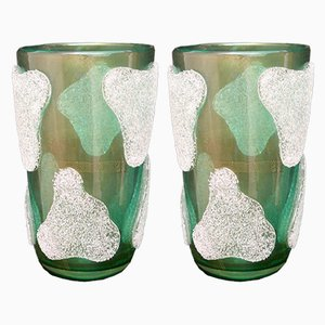 Murano Art Glass Green and White Vases, 1980s, Set of 2
