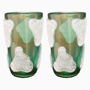 Murano Art Glass Green and White Vases, 1980s, Set of 2