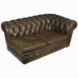 Mid-Century Chaiselongue aus Leder im Chesterfield Stil