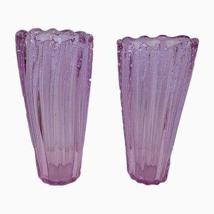 Violette italienische Mid-Century Vasen aus Muranoglas, 1950er, 2er Set