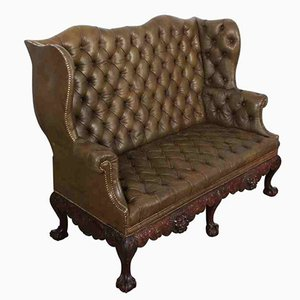 Antique Mahogany and Leather Chesterfield Style 2 Seater Wing Couch