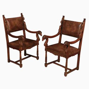 Antique Walnut and Leather Armchairs, Set of 2