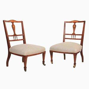 Antike Pflegestühle aus Palisander mit Intarsien, 2er Set