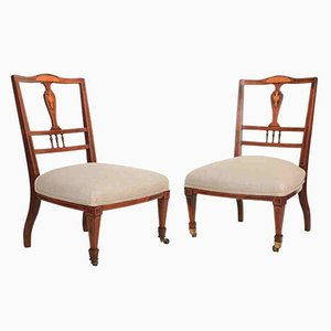 Antique Rosewood Marquetry Inlaid Nursing Chairs, Set of 2