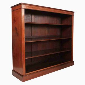 Antique Solid Mahogany Inlaid Open Bookcase