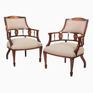Antique Rosewood Marquetry Inlaid Tub Chairs, Set of 2